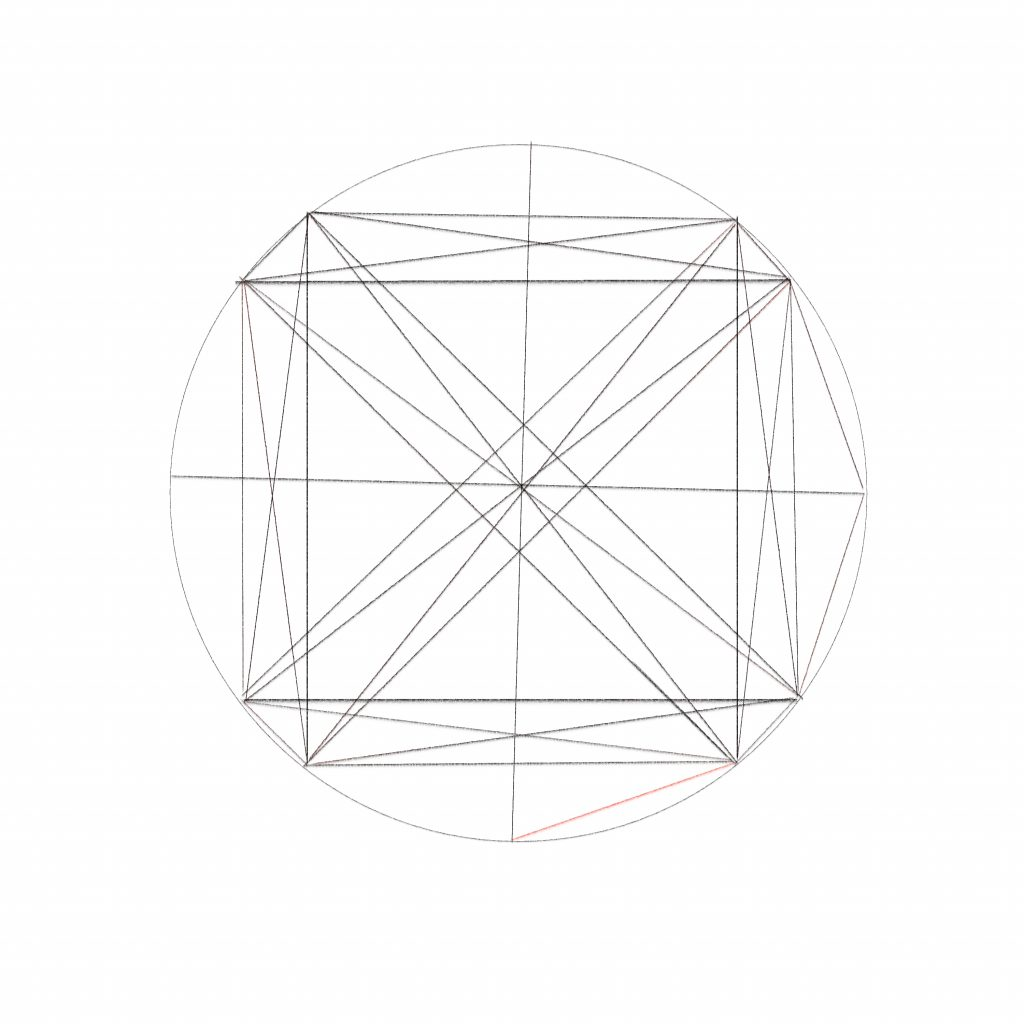 37 Take the line you just drew in Step 36, connect the bottom end of it with the bottom left corner of the bottom trapezium. Do this by drawing a diagonal line between