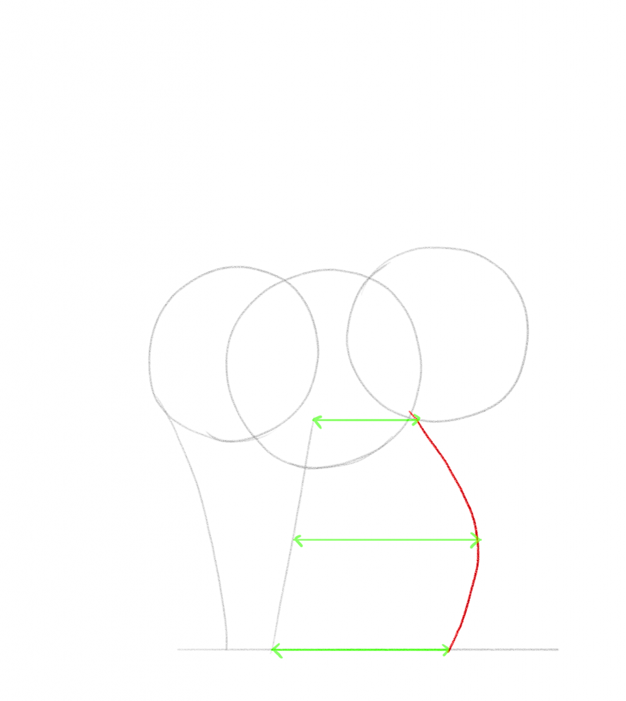 Draw a curved line to create the basic outline of the cat's back legs