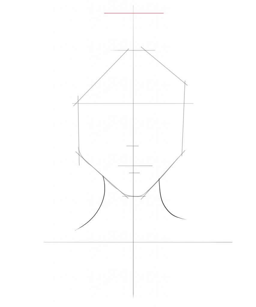Draw a straight horizontal line for the upper part of the hair