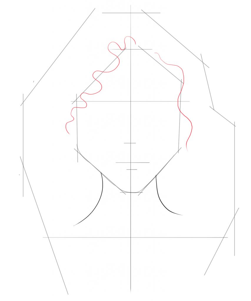 Draw a squiggly line on top point of the face