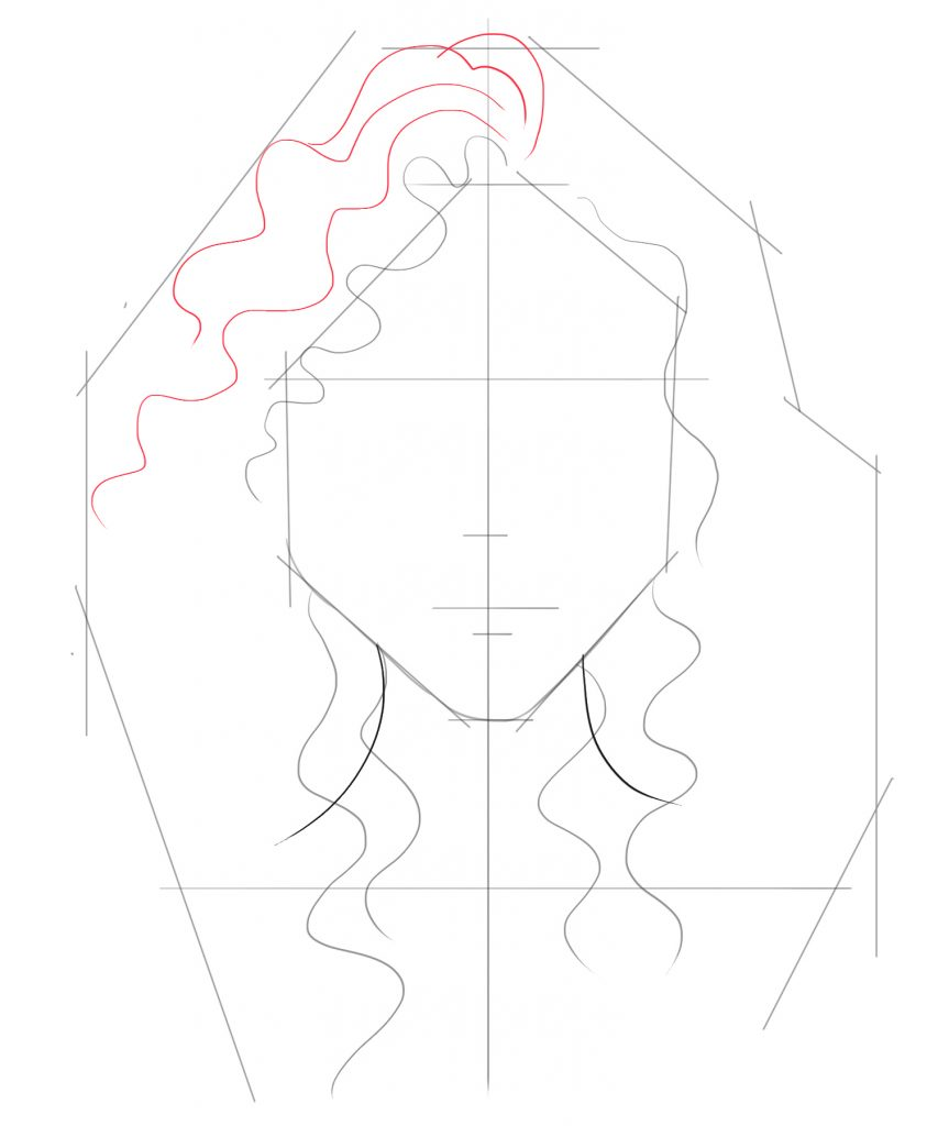 Draw a few more hair lines on top