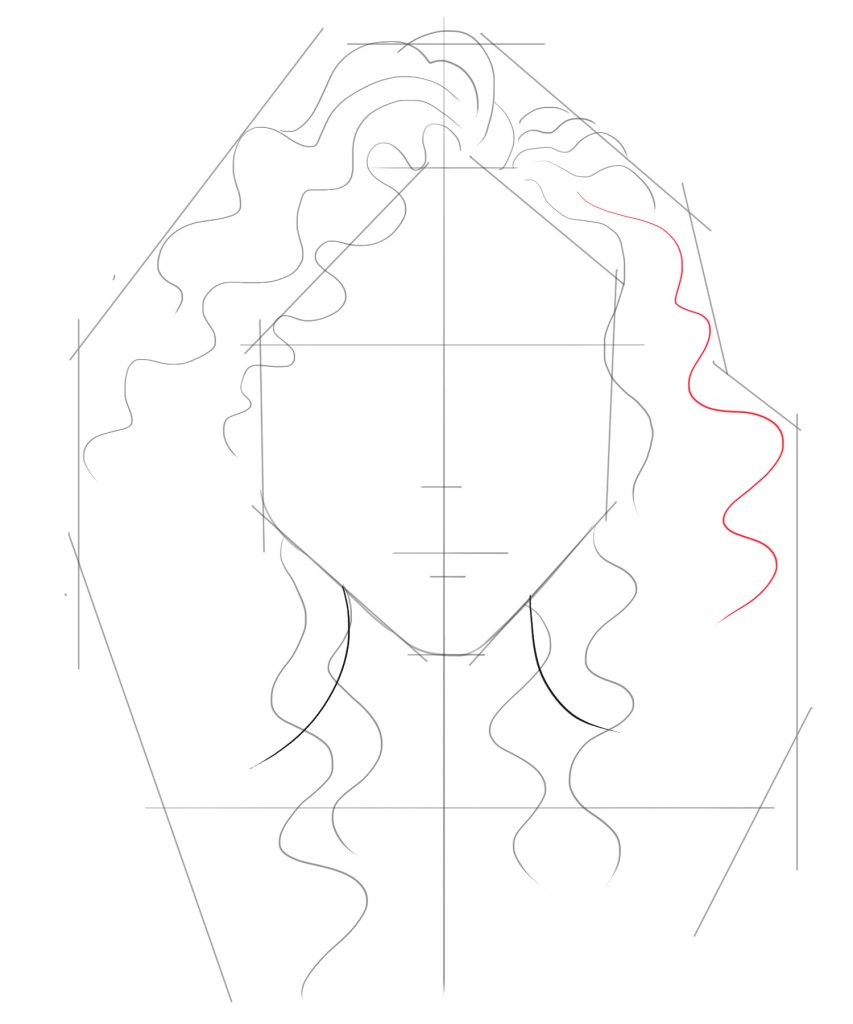 Draw another squiggly line on the right side of the face