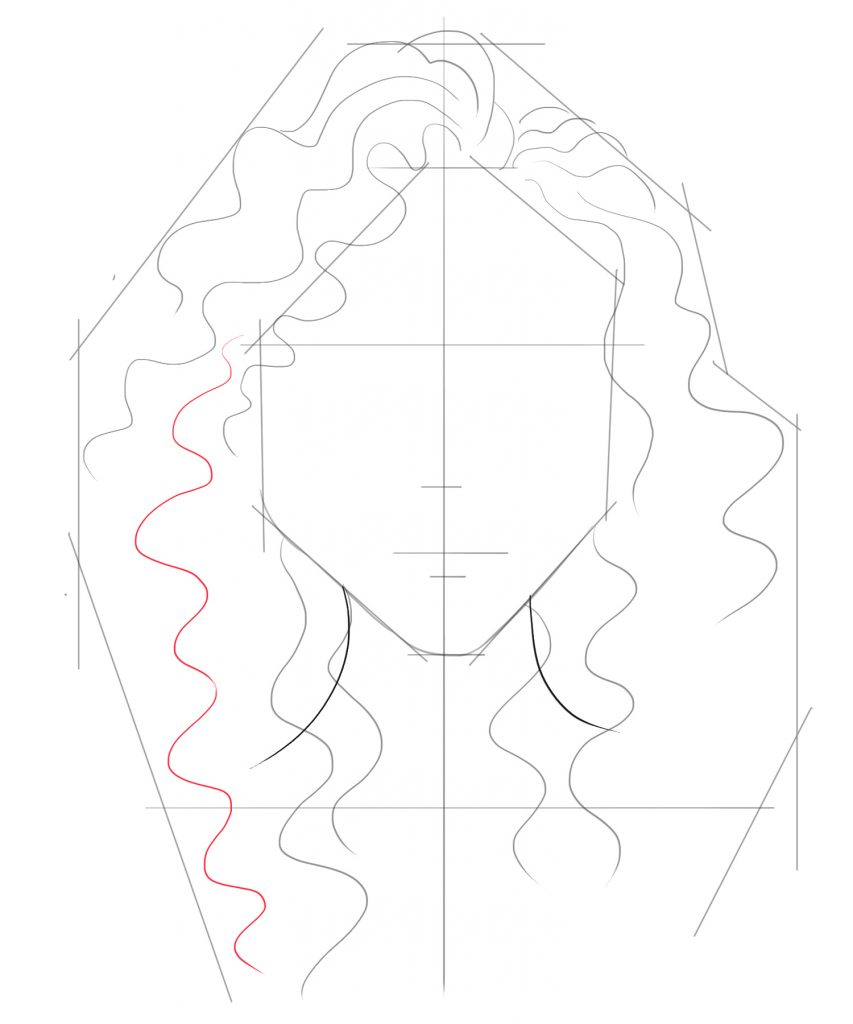 Draw more hair lines on both sides flowing past the neck