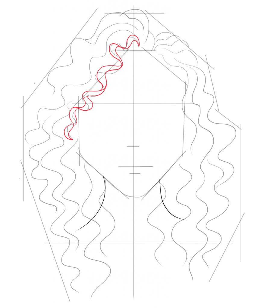Start to draw the faint curl lines