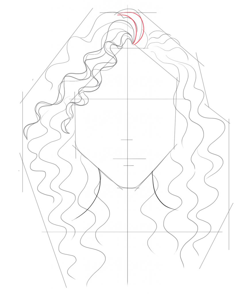 Start adding curled hairs to the upper portion of the head