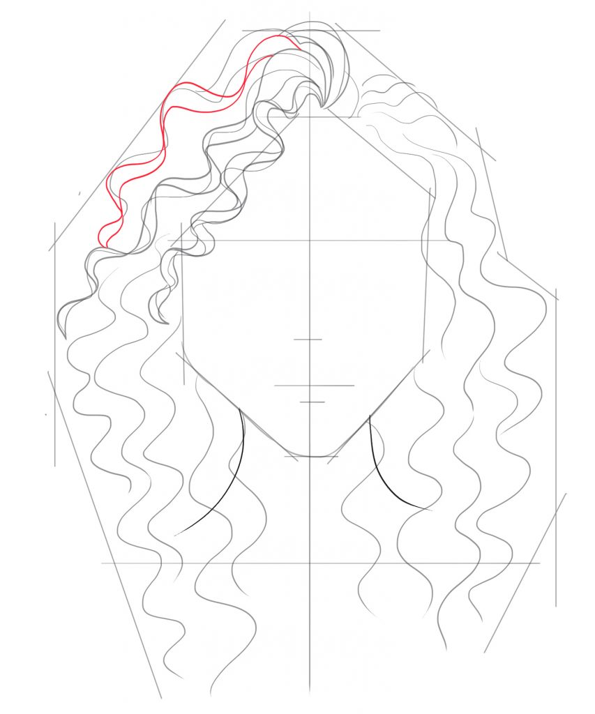 Adding more carefully drawn curls to the left side of the head