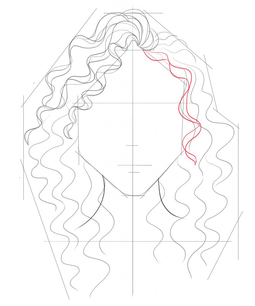 Start to draw more curls down the right side of the face
