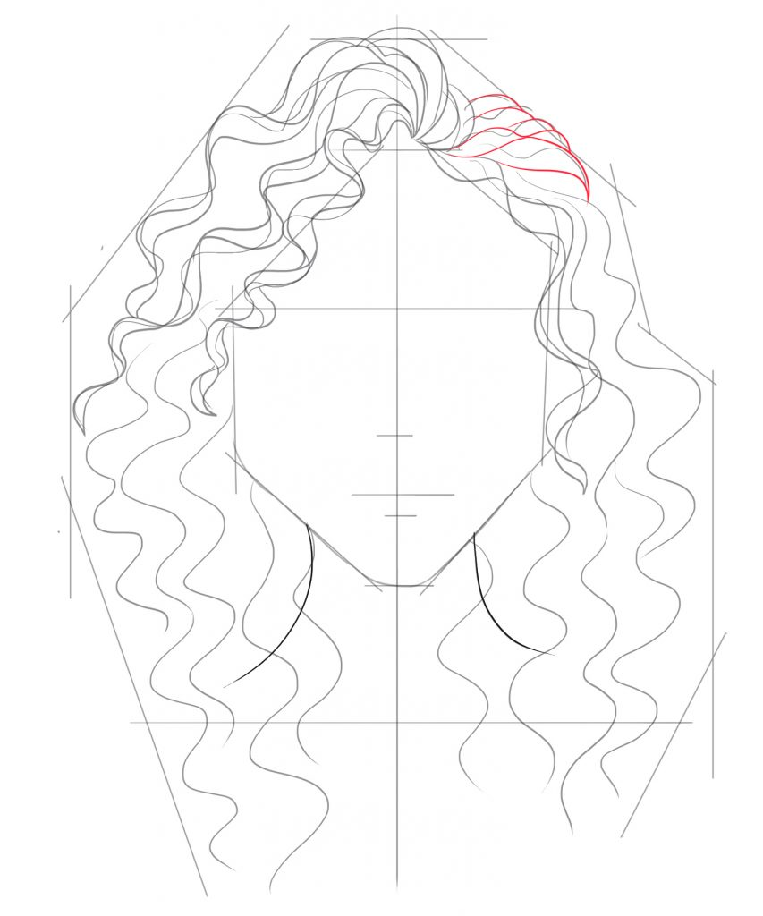 Fill in the top of the hair