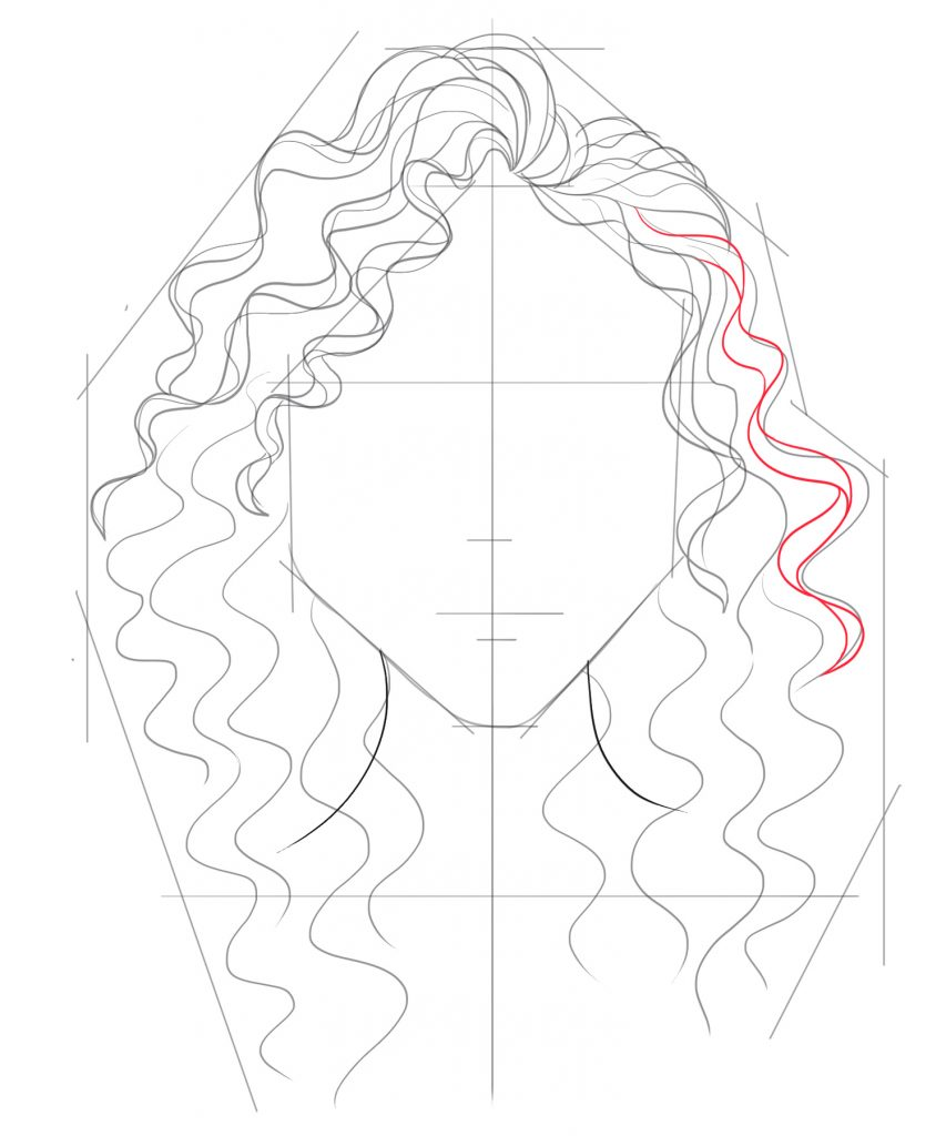 Draw more strands of hair down to the middle of the right side