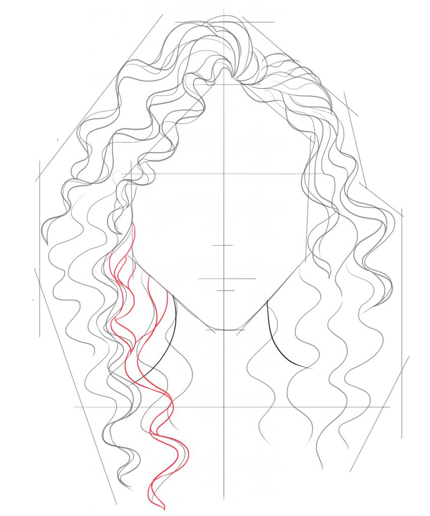 Add curls that start at the jaw line and fall straight down