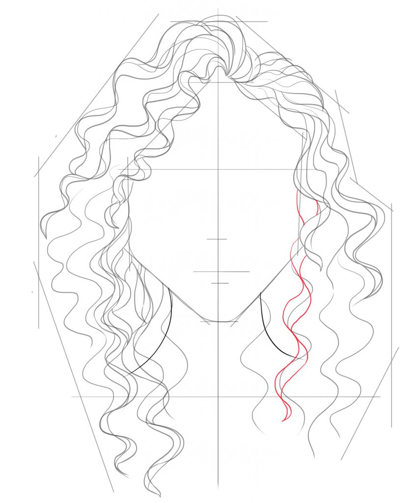 Add some curly hair on the lower right side