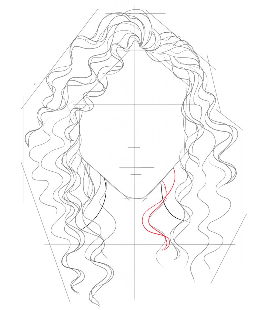Draw a smaller strands of curly hair flowing down from the right side of the jaw