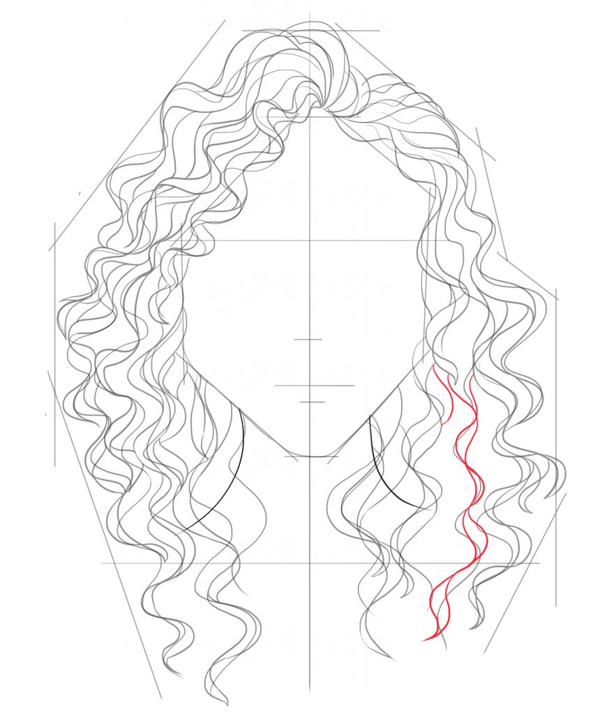 Draw more strands of hair to fill out the lower portion