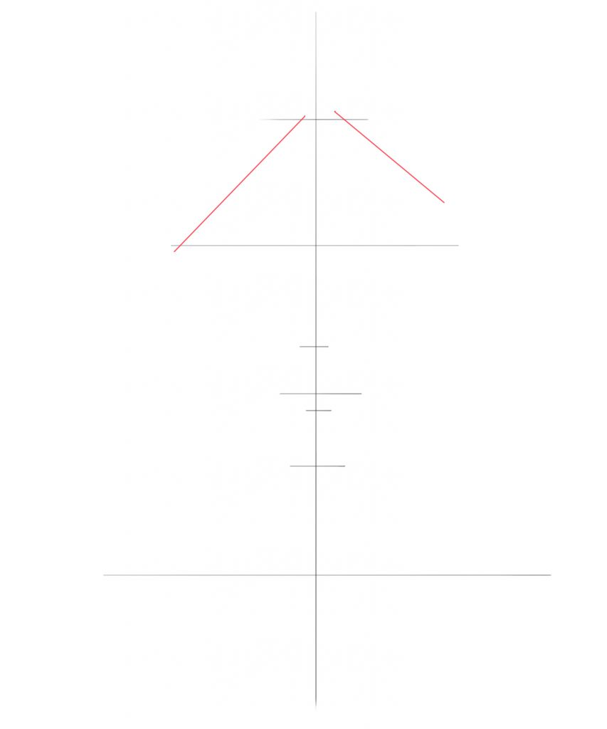 Draw two diagonal lines and connecting the edges of the horizontal line