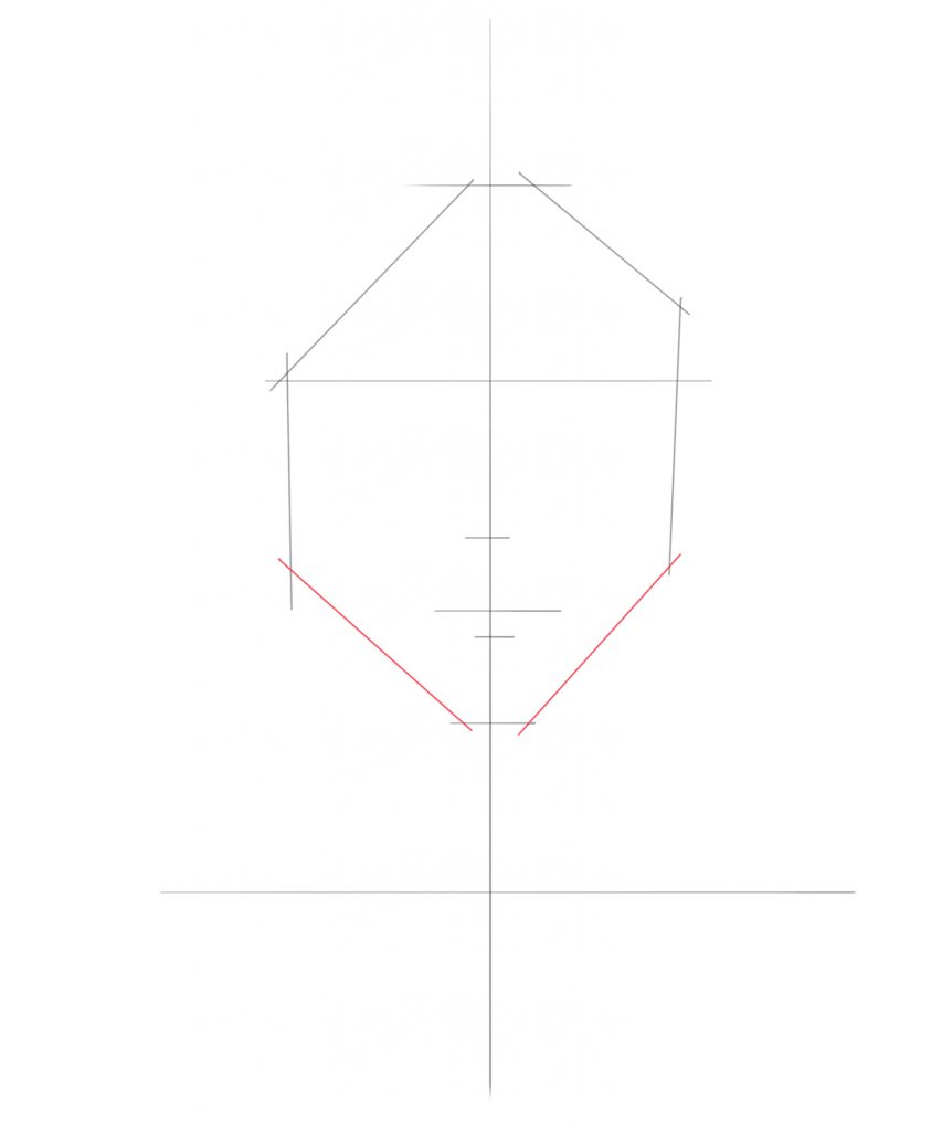 Draw two diagonal lines for the chin of the head