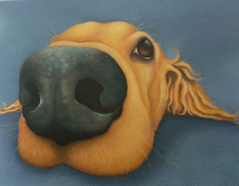 Honey the golden retriever painting