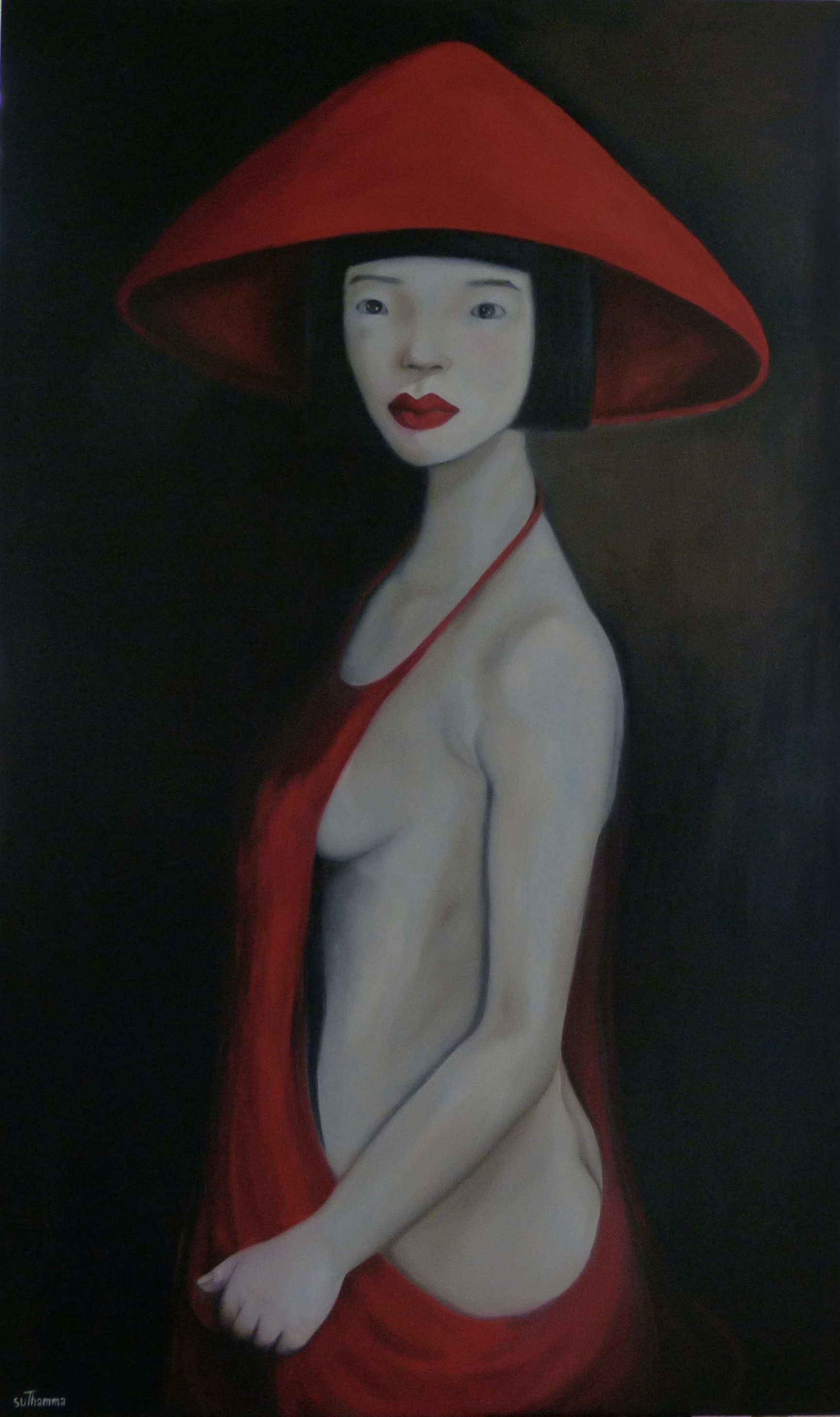 Oriental lady wearing a red hat and dress