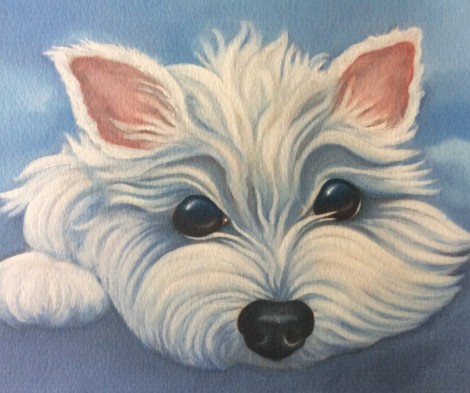 Sugar the west highland terrier painting