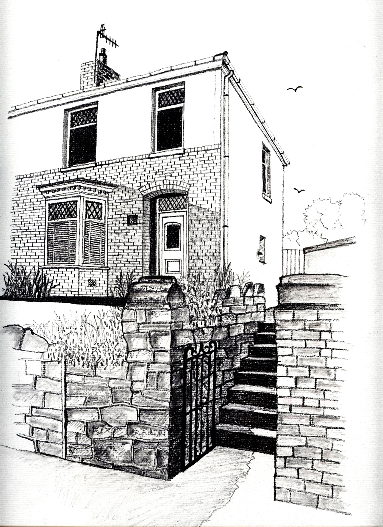 freehand house portrait
