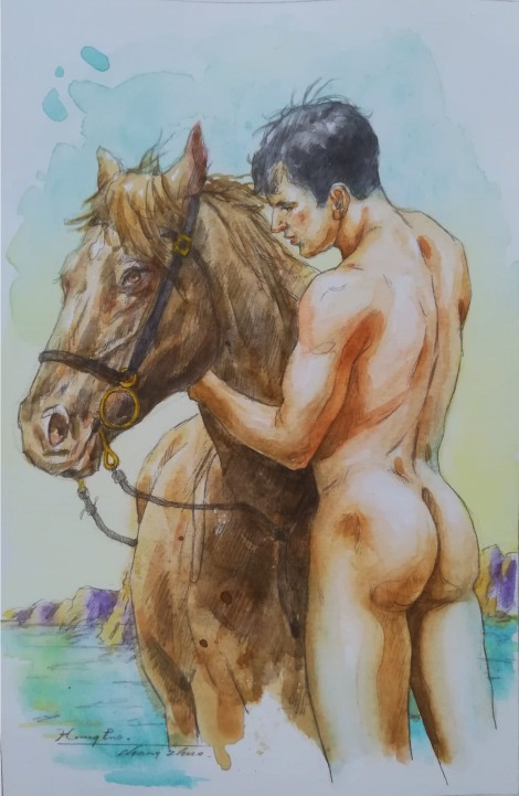 watercolor painting male nude#003
