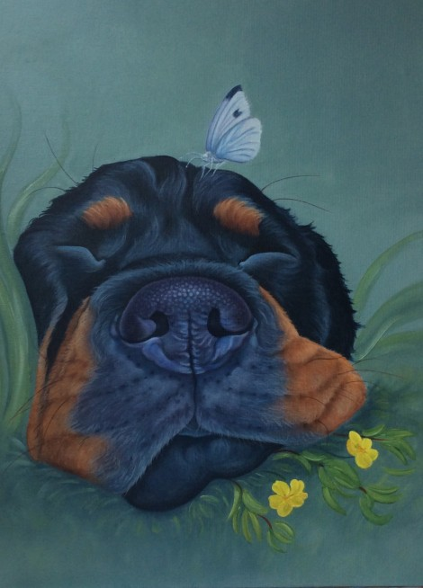 Roxy the rottweiler painting