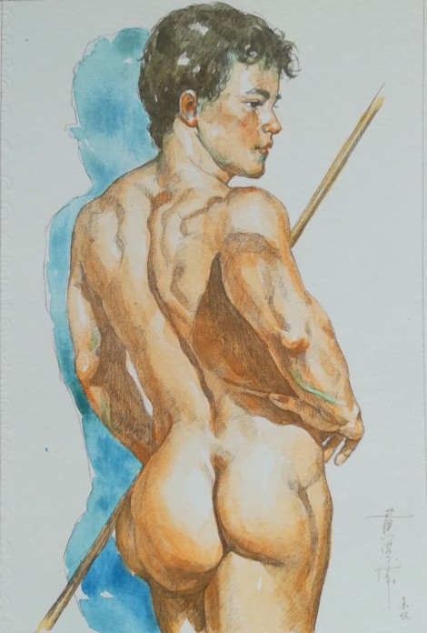 watercolor painting male nude#009