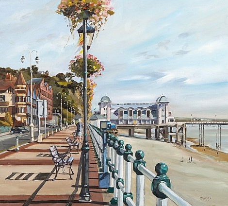 Title Bank holiday Plein Air Painting Penarth 12inchx 12inch Oil on Panel