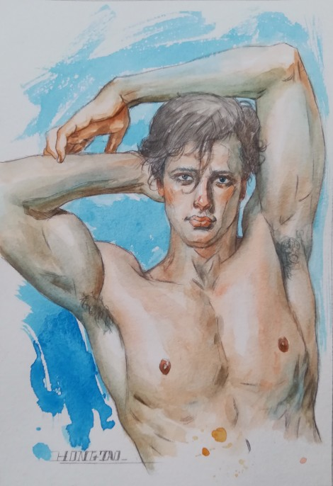 watercolor painting male nude005