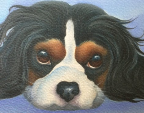 Cola the King Charles cavalier spaniel painting