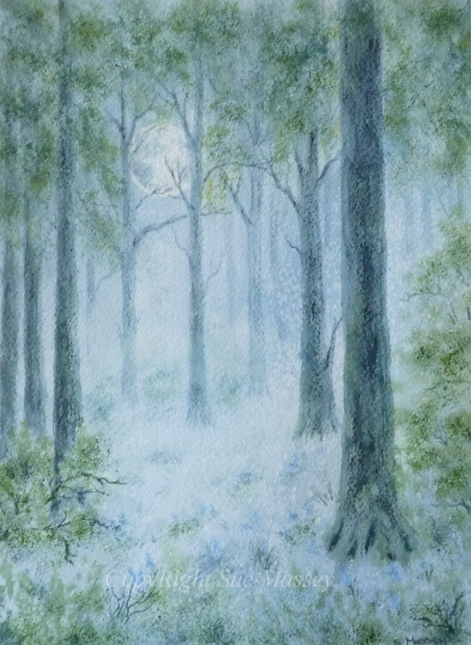 The Blue Forest. woodland trees