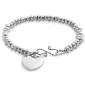 4mm Silver Nugget Bead Bracelet with a Hammered Heart Charm