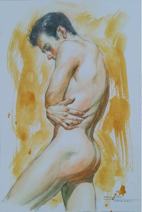 watercolor painting male nude#002