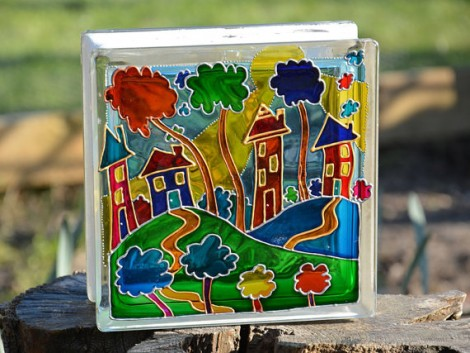 Houses on the Hill Garden Ornament Glass Sun Catcher