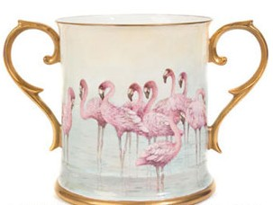 Pink Flamingos two handled Loving Cup