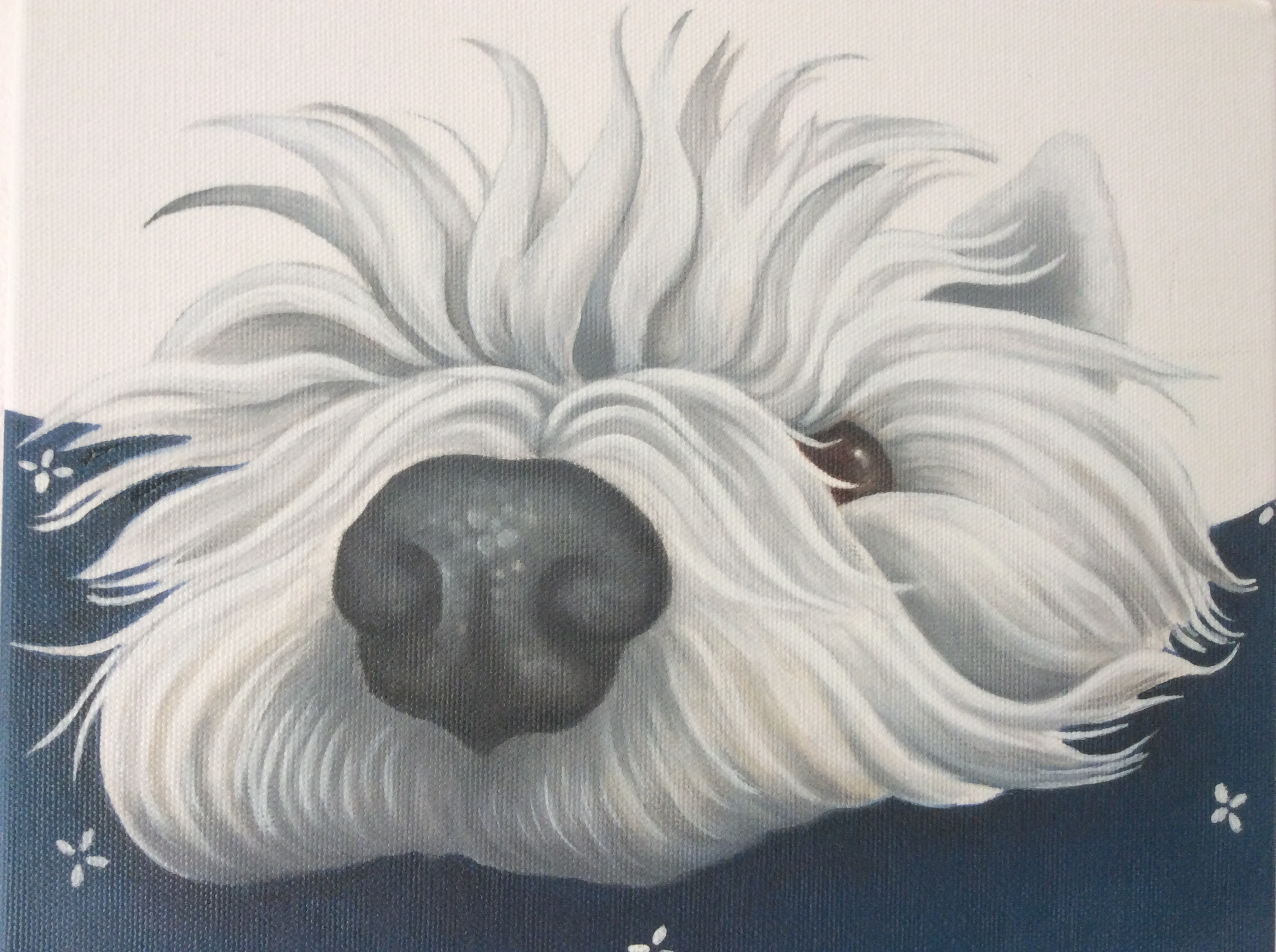 Lollipop the west highland terrier painting