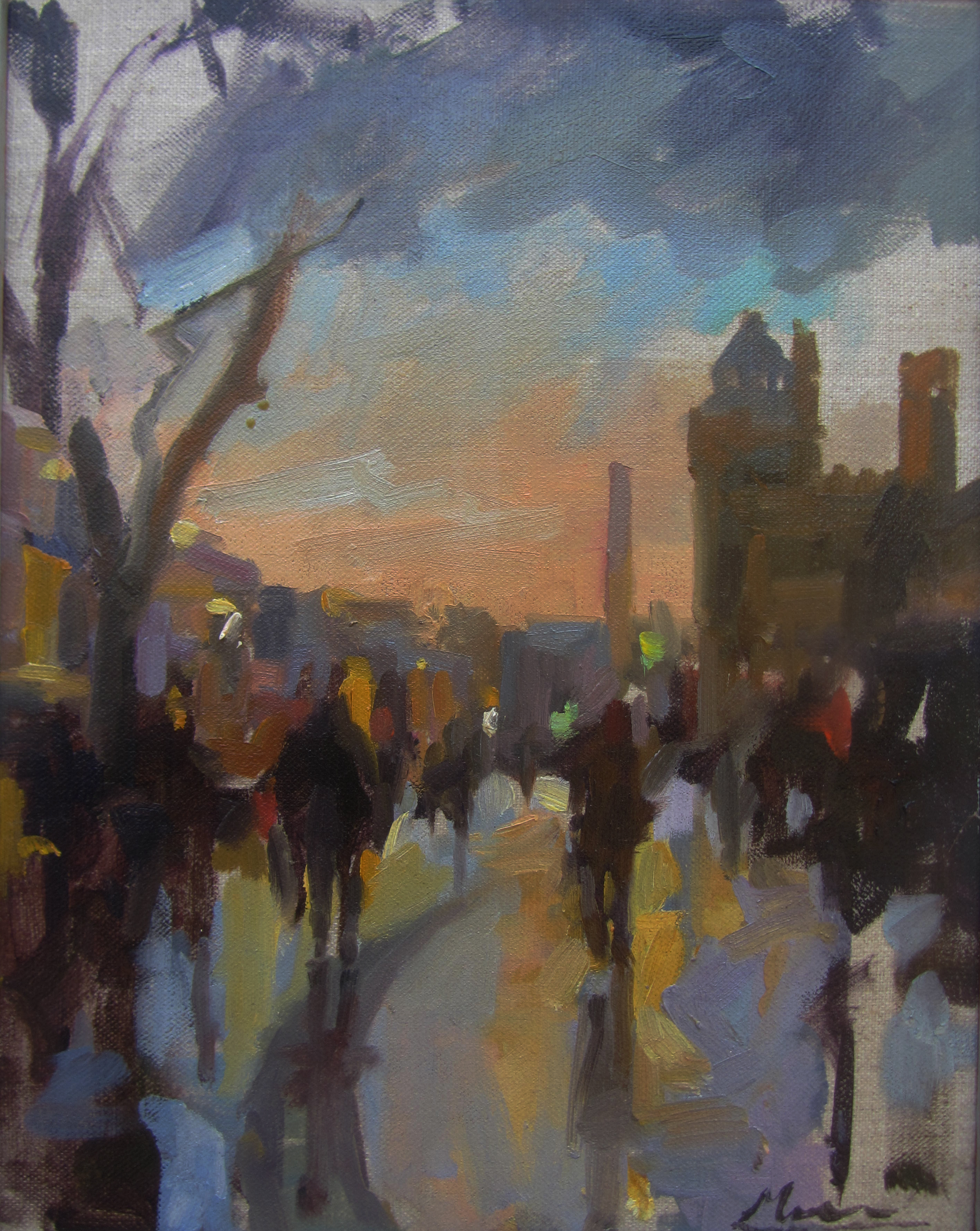 Rainy day in Cardiff. 24x30 oil on canvas.