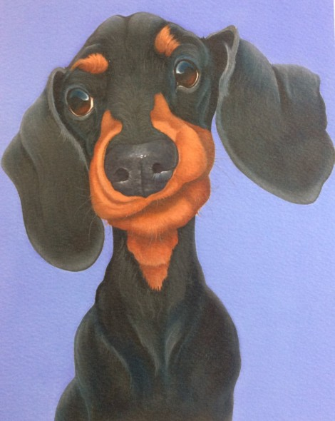 Slinky the daschund painting