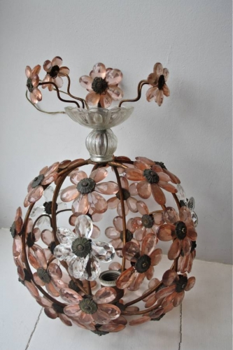 Italian hanging light with glass flowers