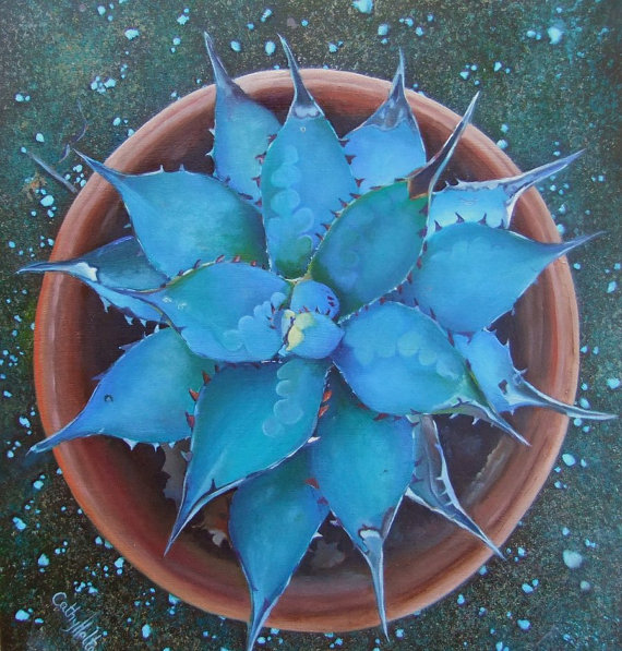 Original painting of Aloe Vera Plant in Green and Blue.