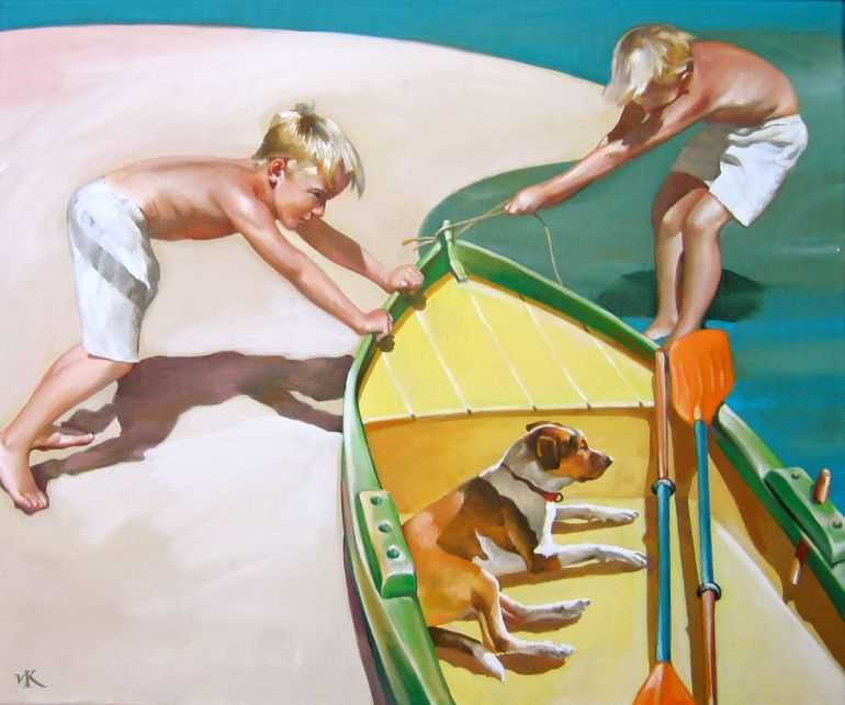 Two Boys With a Dog and a Boat