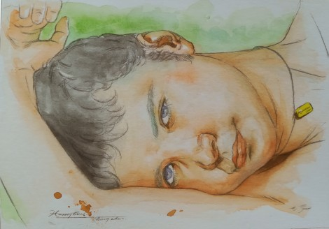 watercolor painting portrait of man #004