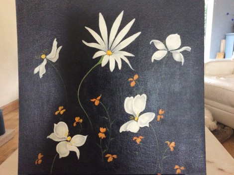 white anenome and daisy flowers on black painting