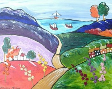 Naive Painting Of Hollyhock Growing On The Colourful Hills