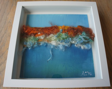 Seascape mixed media framed by Anna Clarke
