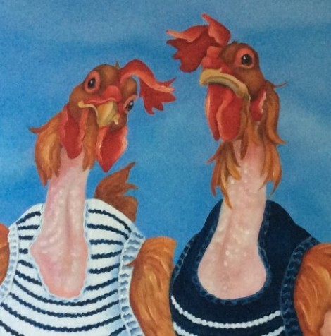 the knit wits the ex battery hens painting