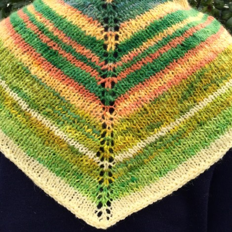 Hand spun and knitted shawl