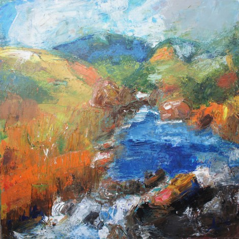 The River Flows acrylic on deep edge canvas by Anna Clarke