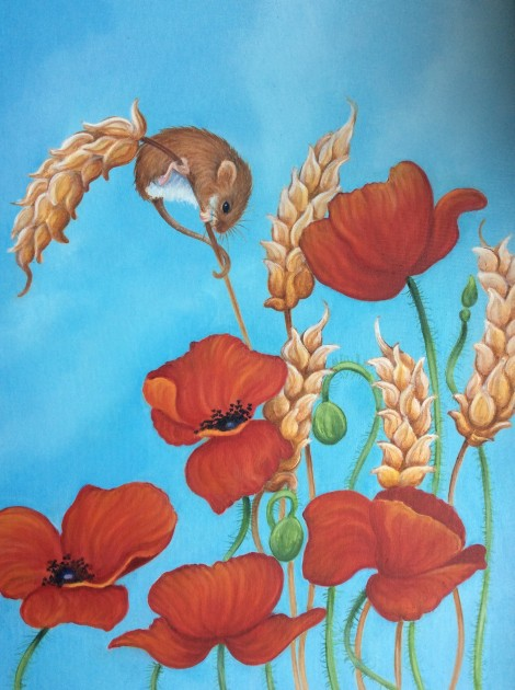 Harvest mice and poppies painting