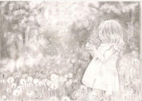 Young Girl in Meadow Signed Print