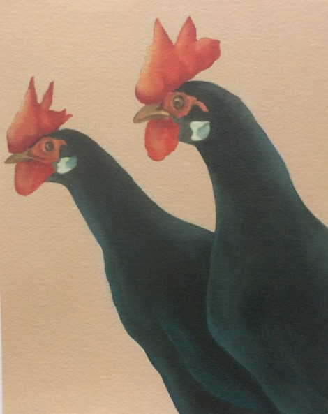 the runners black leghorn chickens painting